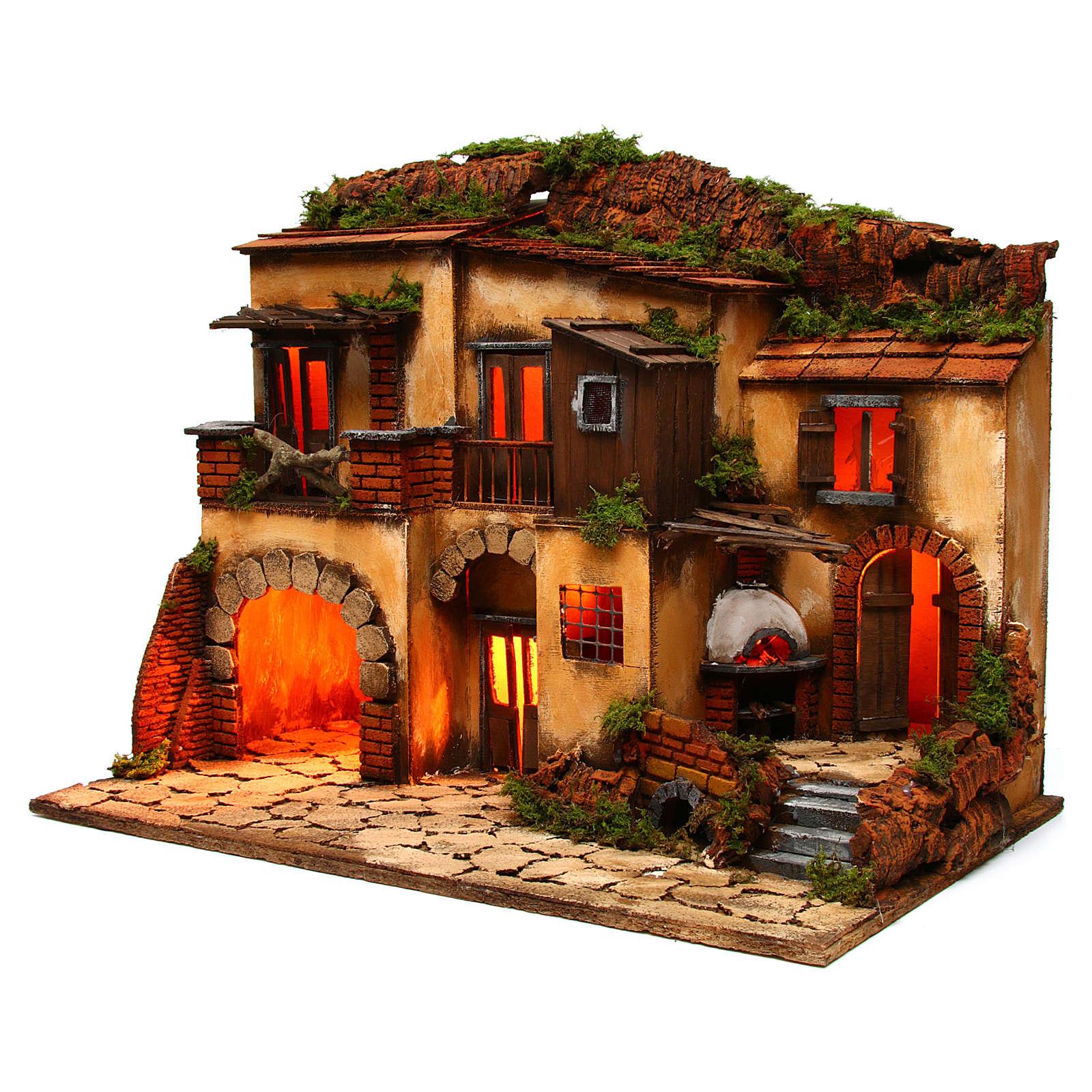 Escenografía Belén Napolitano estilo 700 con horno 4