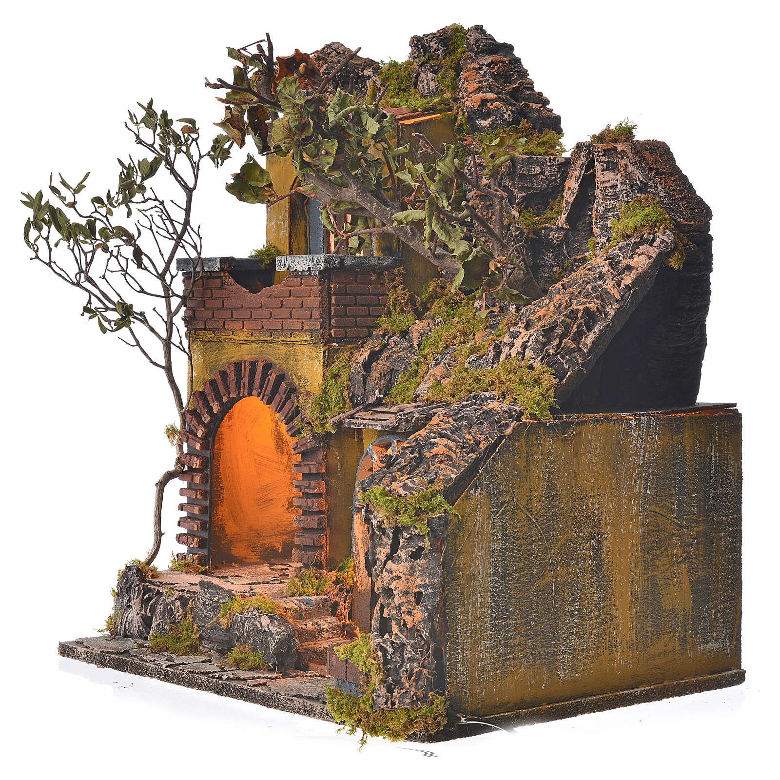 Bourg en miniature crèche Napolitaine style classique cascade 4