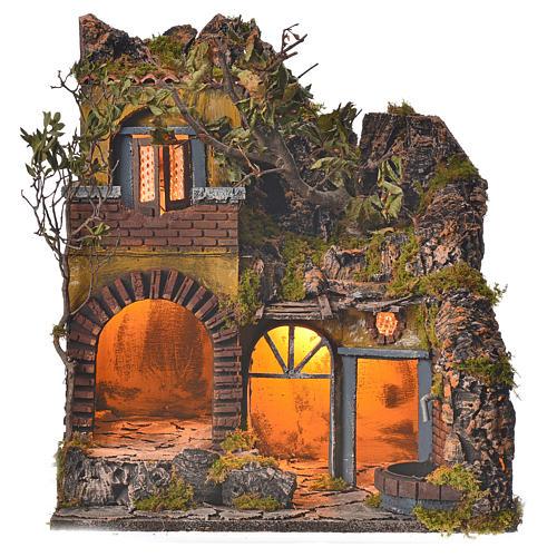 Bourg en miniature crèche Napolitaine style classique cascade 1