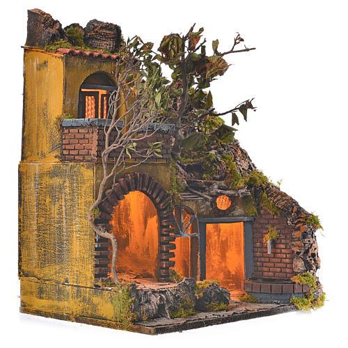 Bourg en miniature crèche Napolitaine style classique cascade 2