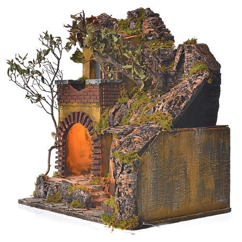 Bourg en miniature crèche Napolitaine style classique cascade 3