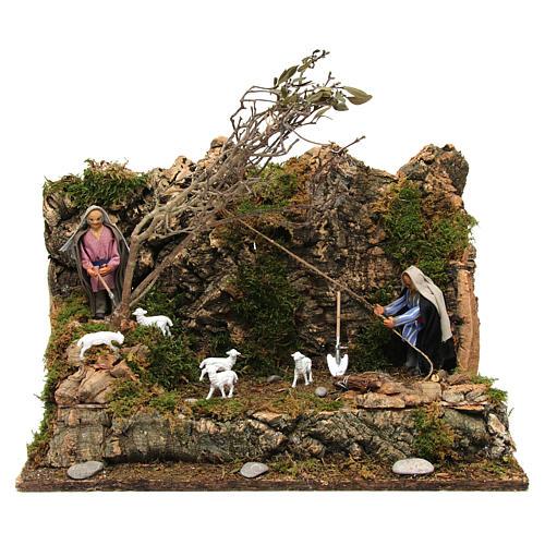 Animated Neapolitan nativity figurine, woodcutter 10cm 1