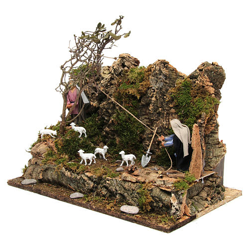 Animated Neapolitan nativity figurine, woodcutter 10cm 2