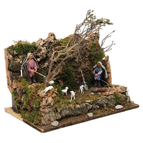 Animated Neapolitan nativity figurine, woodcutter 10cm 3