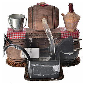 Neapolitan nativity setting, cellar with cask and water pump 11x s4