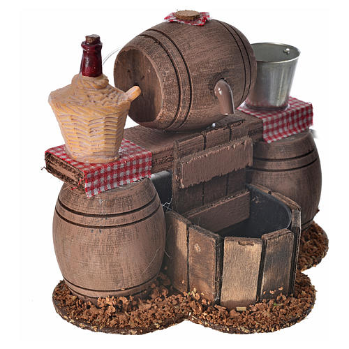 Neapolitan nativity setting, cellar with cask and water pump 11x 2