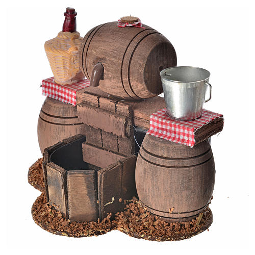 Neapolitan nativity setting, cellar with cask and water pump 11x 3