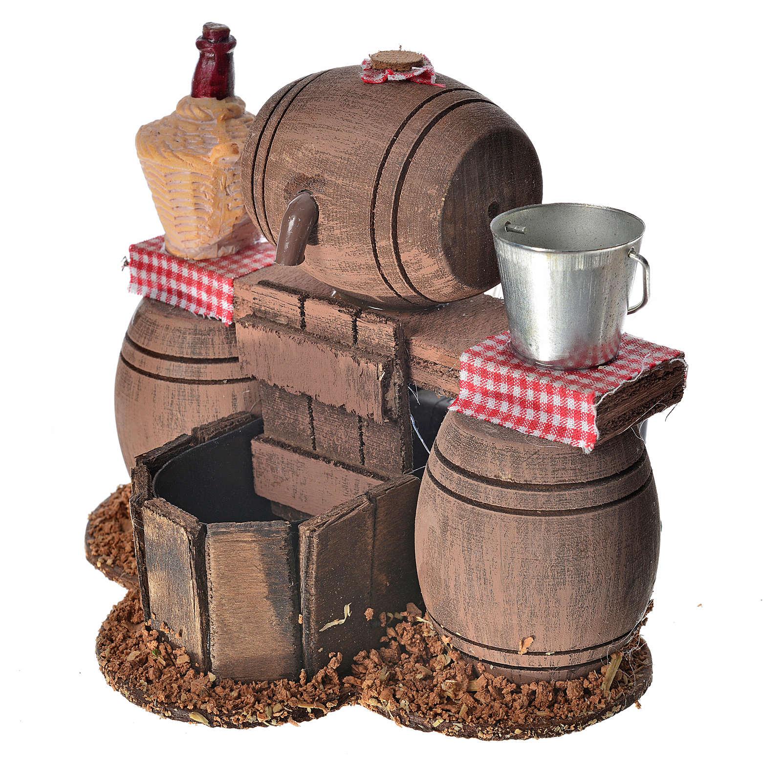 Bodega con barriles escenografía belén con bomba de agua 11x14x1 4