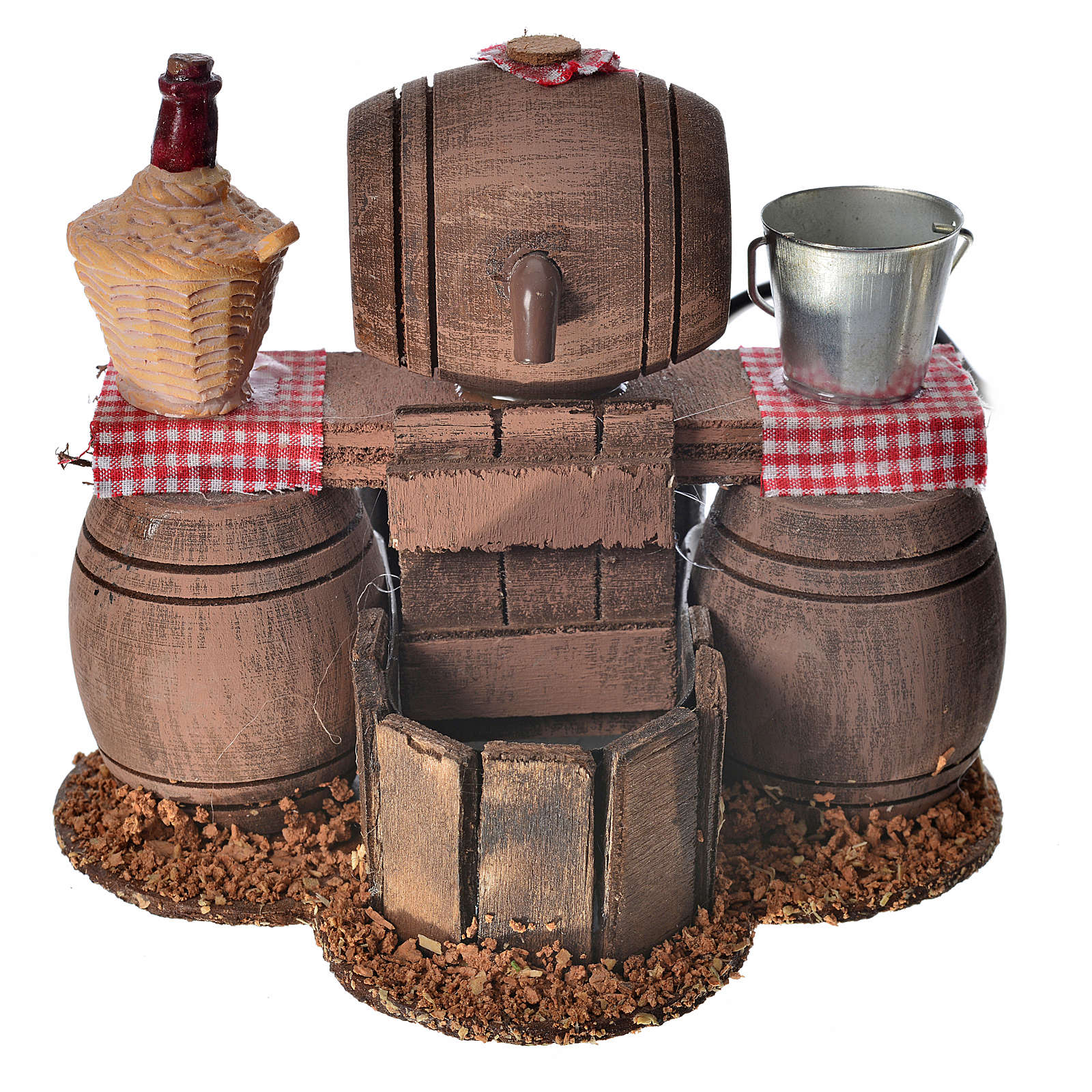 Neapolitan nativity setting, cellar with cask and water pump 11x 4