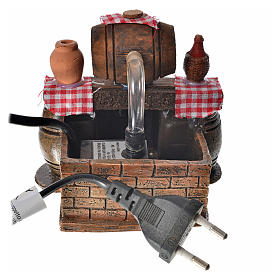 Neapolitan nativity setting, cellar with cask and water pump 9x1 s4