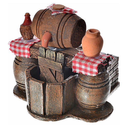 Neapolitan nativity setting, cellar with cask and water pump 9x1 3