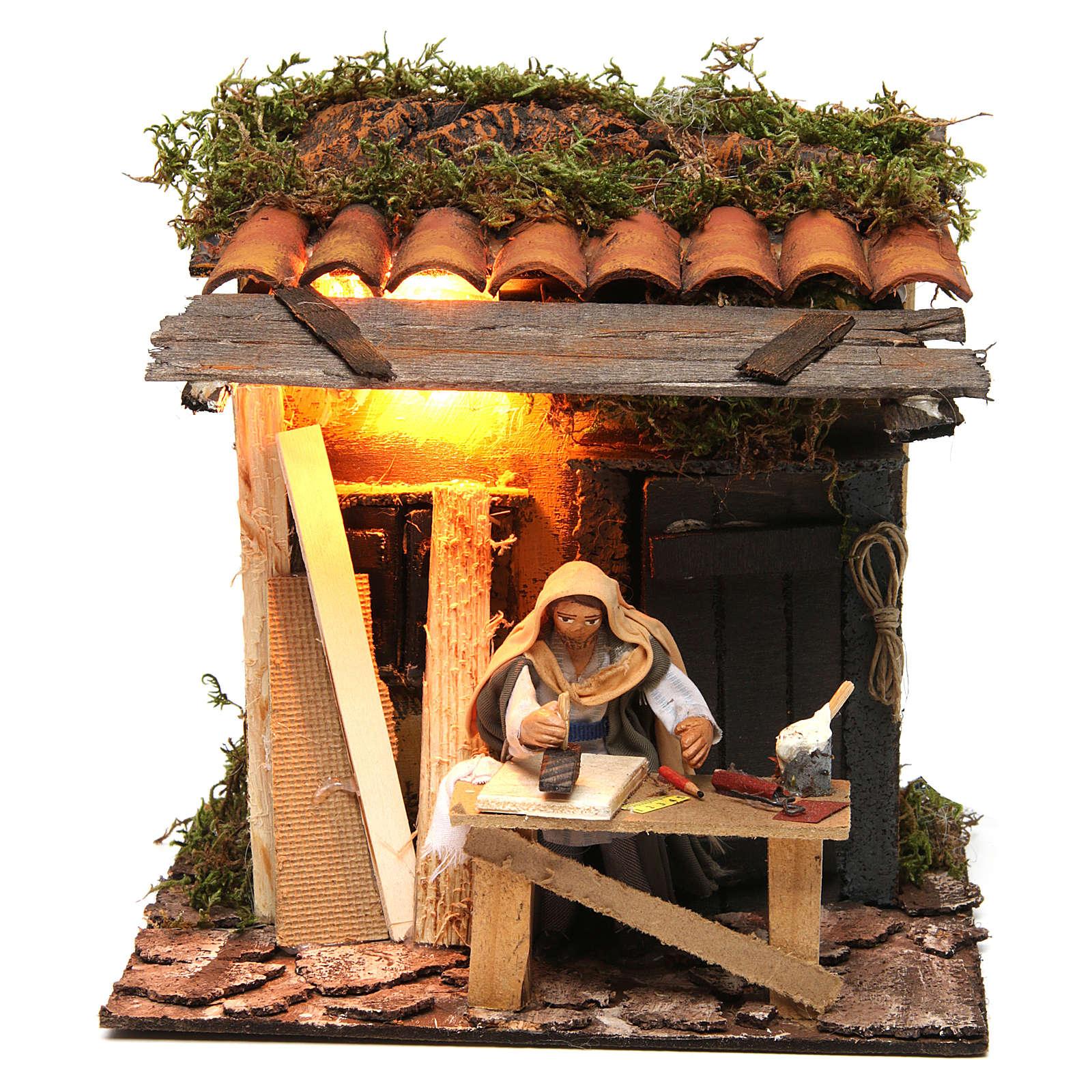 Animated Neapolitan nativity figurine, carpenter 10cm 4
