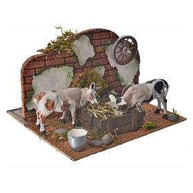 Neapolitan nativity setting, cows at the manger 10cm s2