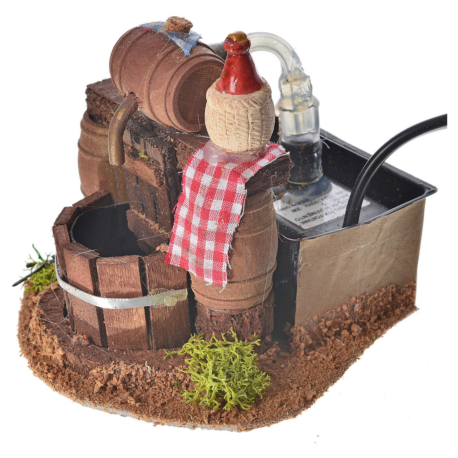 Cave avec tonneau pour crèche et pompe à eau 8x11x9 cm 4