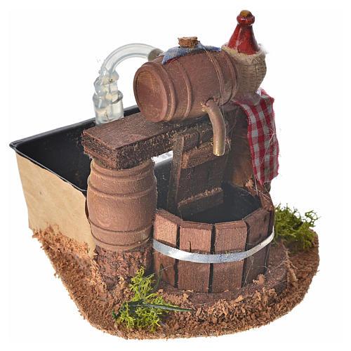 Cave avec tonneau pour crèche et pompe à eau 8x11x9 cm 2