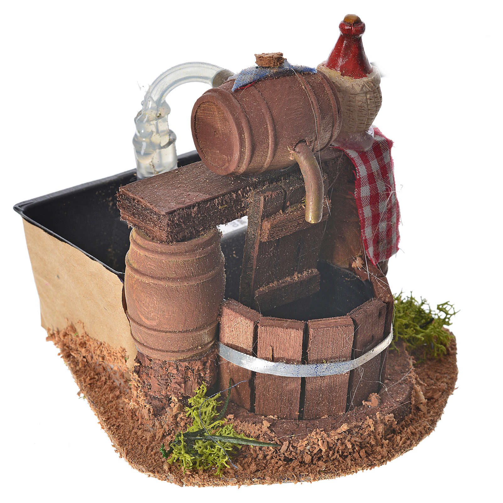 Neapolitan nativity setting, cellar with cask and water pump 8x1 4