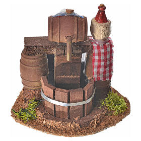 Neapolitan nativity setting, cellar with cask and water pump 8x1 s1