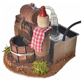Neapolitan nativity setting, cellar with cask and water pump 8x1 s3