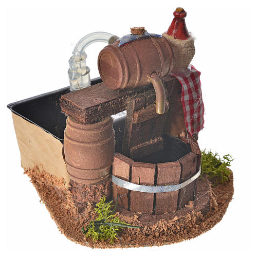 Neapolitan nativity setting, cellar with cask and water pump 8x1 2