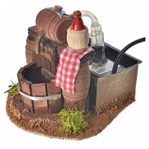 Neapolitan nativity setting, cellar with cask and water pump 8x1 3