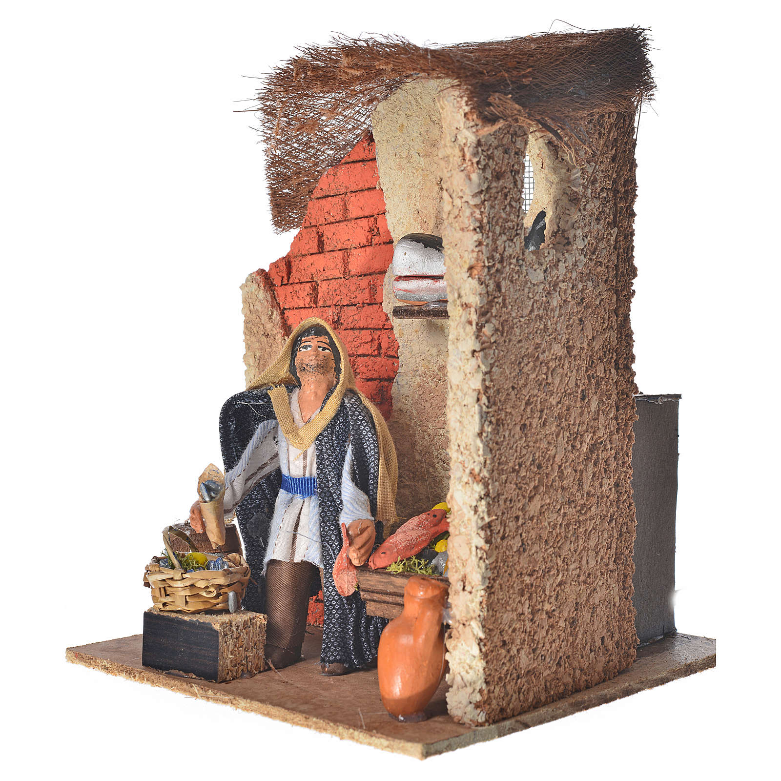 Animated Neapolitan nativity figurine, fishmonger 10cm 4