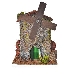 Nativity setting, wood and cork windmill 12x10x6cm s1