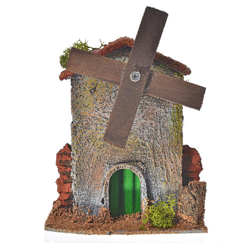 Nativity setting, wood and cork windmill 12x10x6cm 1