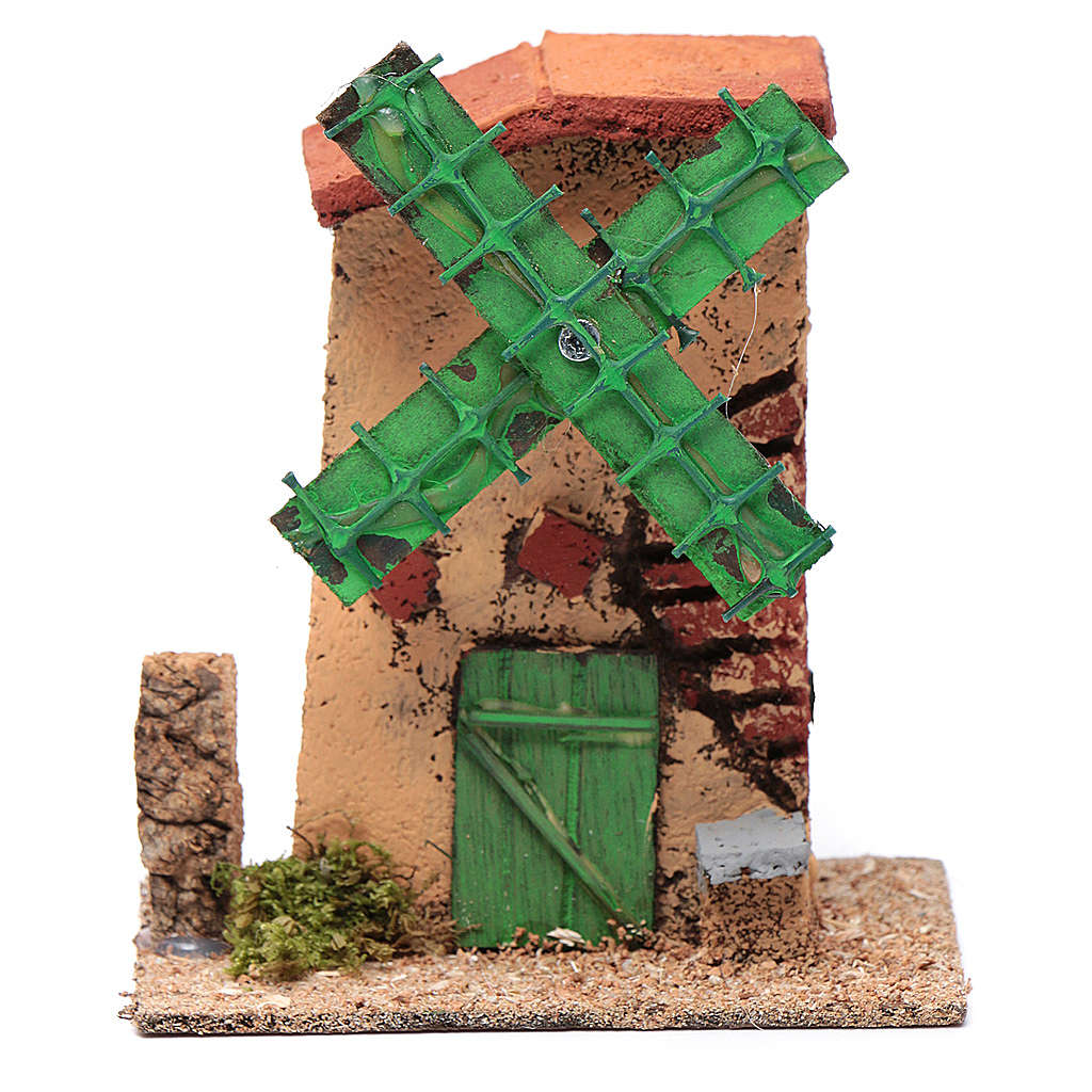 Mulino a vento legno e sughero 12x10x6 cm tetto irregolare 4