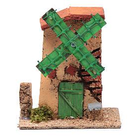 Mulino a vento legno e sughero 12x10x6 cm tetto irregolare s1