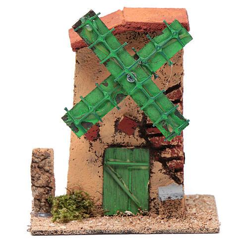 Mulino a vento legno e sughero 12x10x6 cm tetto irregolare 1