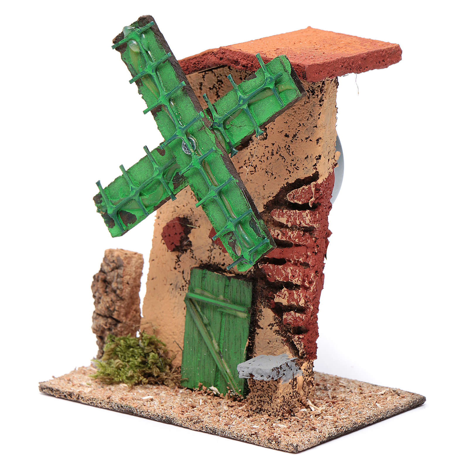 Nativity setting, wind mill, wood and cork, irregular roof 12x10 4