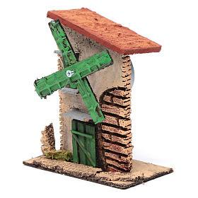 Windmühle Holz und Kork 12x10x6 mit ungleichmässigem Dach s2