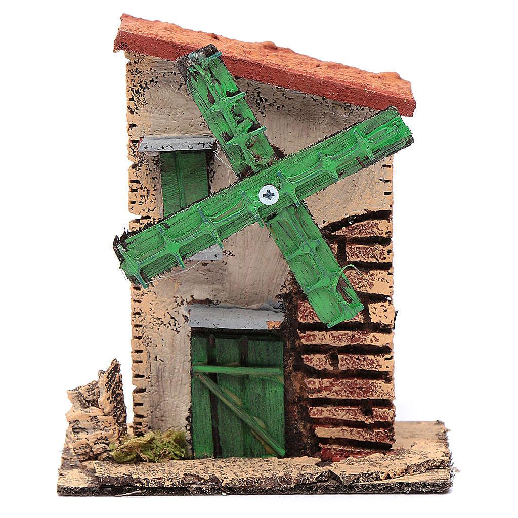 Mulino a vento legno e sughero 12x10x6 cm con tetto irregolare 4