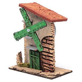 Mulino a vento legno e sughero 12x10x6 cm con tetto irregolare s2