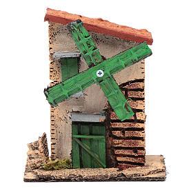 Mulino a vento legno e sughero 12x10x6 cm con tetto irregolare s1