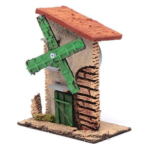 Mulino a vento legno e sughero 12x10x6 cm con tetto irregolare 2