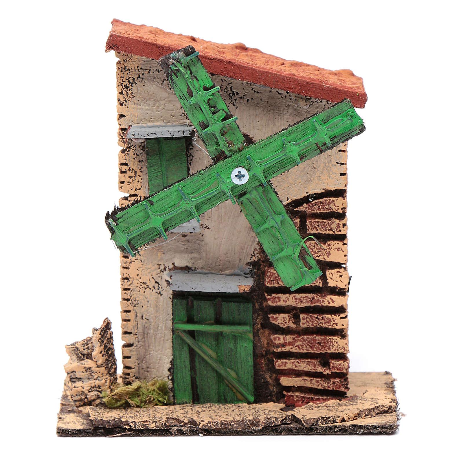 Moinho de vento madeira e cortiça com telhado irregular 12x10x6 cm 4