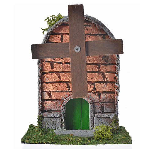 Nativity setting, wind mill in wood and cork with arched roof 12 1