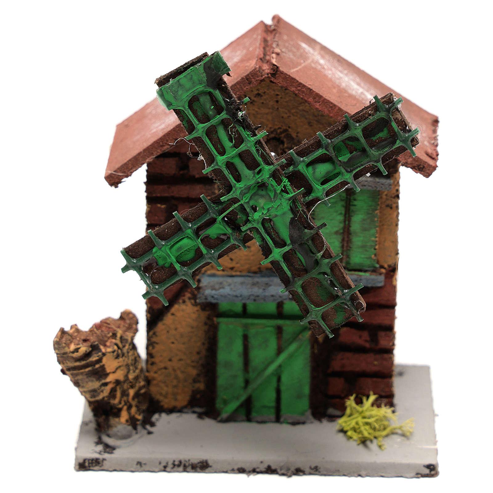 Moulin à vent crèche 12x10x6 cm bois et liège 4