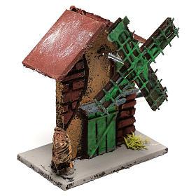 Moulin à vent crèche 12x10x6 cm bois et liège s3