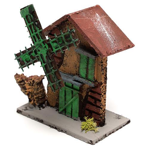 Moulin à vent crèche 12x10x6 cm bois et liège 2