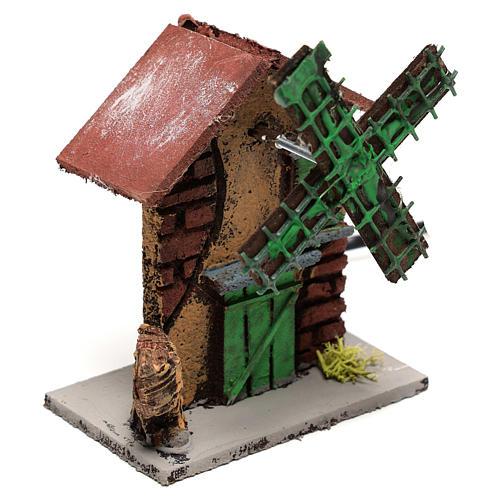 Moulin à vent crèche 12x10x6 cm bois et liège 3