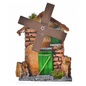 Nativity setting, wind mill made of wood and cork 12x10x6cm s1