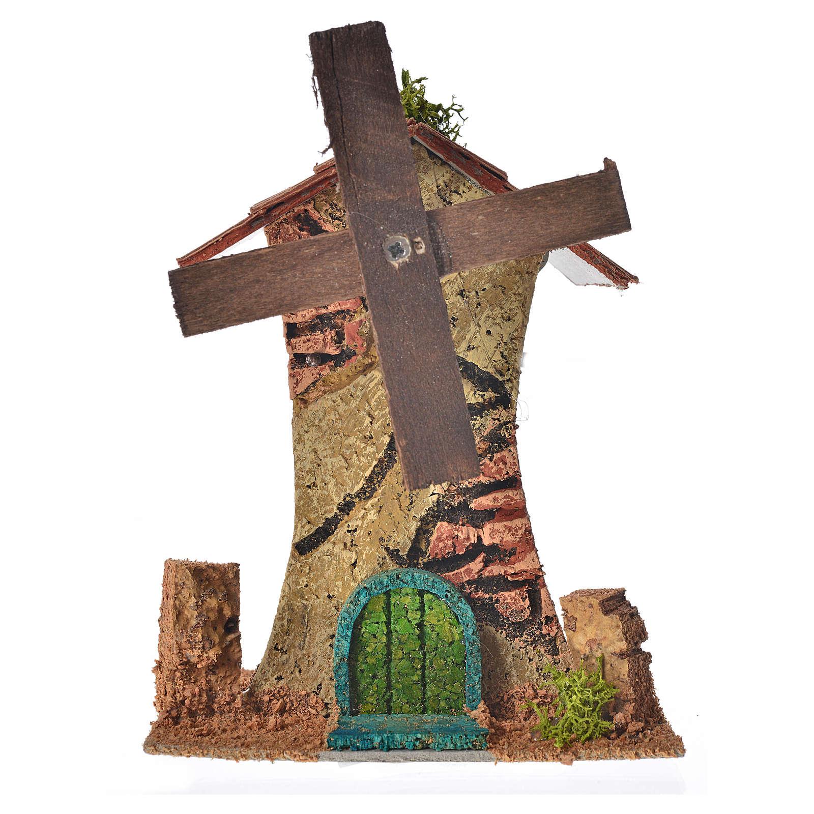 Mulino a vento in legno e sughero cm 12x10x6 4