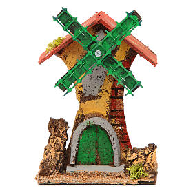 Nativity setting, wind mill in wood and cork 12x10x6cm s1