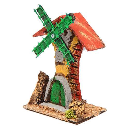 Nativity setting, wind mill in wood and cork 12x10x6cm 2