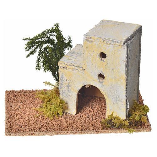 Maison arabe en bois pour crèche 8x14x9 cm 1