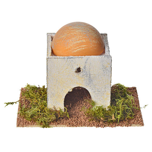 Casetta araba con cupola in legno per presepe 8x14x9 cm 1