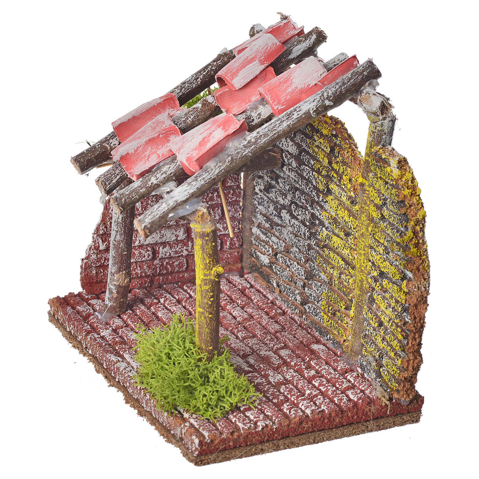 Stalla per animali in legno per presepe 14x14x9 4