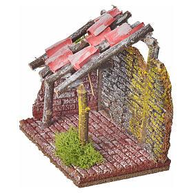 Stalla per animali in legno per presepe 14x14x9 s3